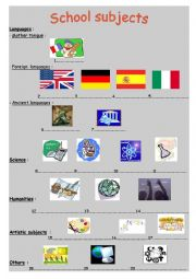 English Worksheet: School subjects + Comparing French / British classes