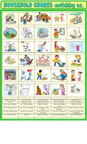 English Worksheet: Household chores : matching