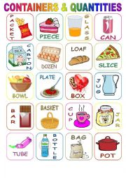 English Worksheet: Containers & Quantities