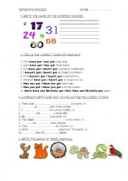 English Worksheet: REVISION EXERCISES for Ss aged 8-9