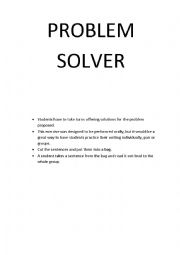 English Worksheet: Problem Solver