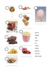 English Worksheet: Sweet snacks