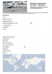 English Worksheet: Earthquake in New-Zealand  (Nov 2016)