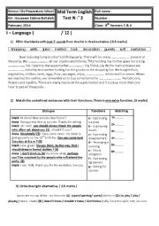 English Worksheet: 8th form mid term test 2 ( mid semester ) test 2
