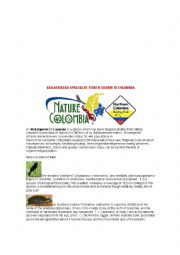 English Worksheet: Endangered species in North Colombian region