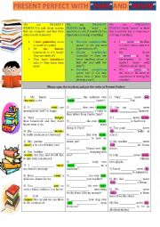 English worksheet: PRESENT PERFECT WITH