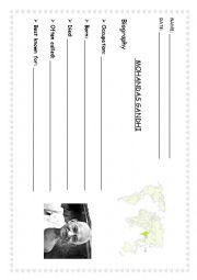 English Worksheet: Biography of Gandhi