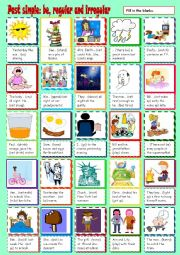 English worksheet: Past simple - be, regular and irregular verbs