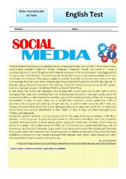 English Worksheet: test about social networks