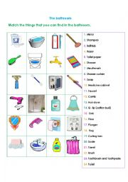 English Worksheets The Bathroom Things That You Can Find
