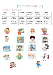 English Worksheet: The bathroom: Personal hygiene verbs