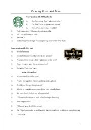 English Worksheet: Ordering food & drink