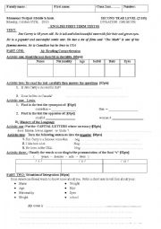 English Worksheet: test about describing physical appearance