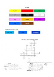 English Worksheet: Learning colours (includes crossword)