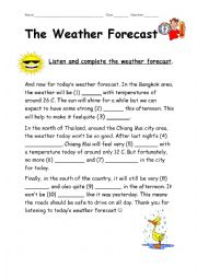 English Worksheet: The Weather Forecast