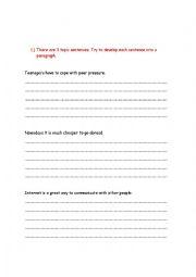 English Worksheet: Topic sentence-article writing