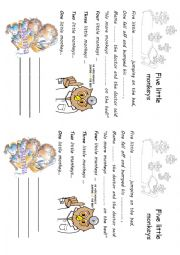 English Worksheet: Song Five little monkeys