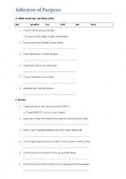 English Worksheet: Infinitive of Purpose (Rewrite) A2 Level