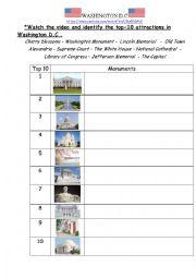 English Worksheet: Washington DC Top 10 attractions