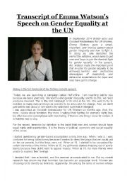 Emma Watson´s Speech on Gender Equality at the UN
