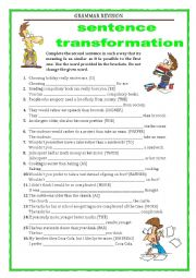 English Worksheet: GRAMMAR REVISION - SENTENCE TRANSFORMATION - adjectives - part 4 with key