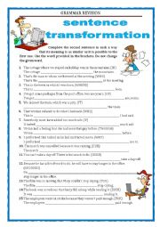 English Worksheet: GRAMMAR REVISION - SENTENCE TRANSFORMATION part 5 - RELATIVE CLAUSES, LINKING WORDS  with key