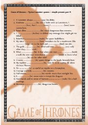 English worksheet: Game of Thrones  Tyrion Lannister quotes II - simple present CEF B1