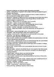 English worksheet: personality- vocabulary