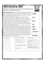 English worksheet: Hitchcock Bio Reading Activity
