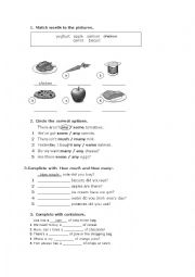 English Worksheet: Food, order food, much, many, any