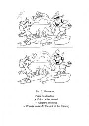 English Worksheet: Activity for small kids - Find the 5 differences & Color