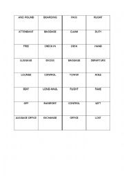 English Worksheet: AT THE AIRPORT vocabulary dominoes puzzle