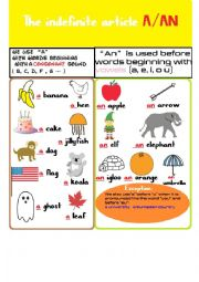 English Worksheet: A achor chart of the indefinite article a/an.