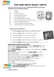 English Worksheet: THE ONE WITH ROSS�TEETH