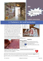English Worksheet: Art History: 1. Prehistory and Cave Paintings