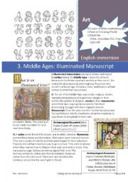 English Worksheet: Art History: 3. Middle Ages and Illuminated Manuscripts
