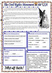 English Worksheet: The Civil Rights Movement in USA