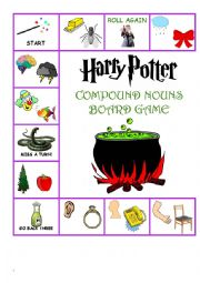 English worksheet: Harry Potter Compound Word Board Game