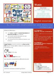 English Worksheet: 1. Musical Instruments and Families VOCABULARY