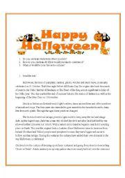 English Worksheet: Halloween worksheet with story