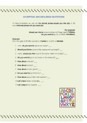 English Worksheet: Accepting and declining invitations