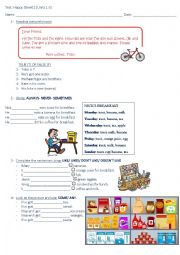 English Worksheet: Test Units 1, 2 and 3 Happy Street 2