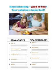 English Worksheet: SPECULATING ON THE PROBLEM OF HOMESCHOOLING