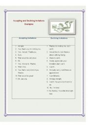 English Worksheet: Accepting and Declining Invitations - Examples