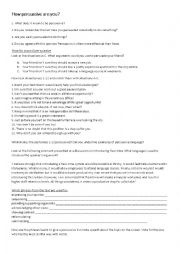 English Worksheet: How persuasive are you