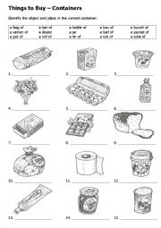 English Worksheet: What is the container for these items? Make a shopping list.
