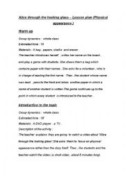 English Worksheet: Alice through the looking glass - Lesson plan