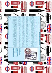English Worksheet: A POSTCARD FROM LONDON! READING FOR A2 LEVEL