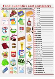 English Worksheet: Food quantities and containers