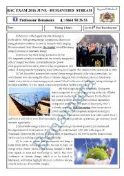 English Worksheet: RENEWABLE ENERGIES IN MOROCCO BAC EXAM JUNE 2016 HUMANITIES STREAM
